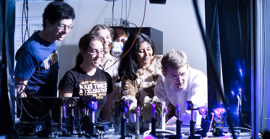 Physics faculty and students